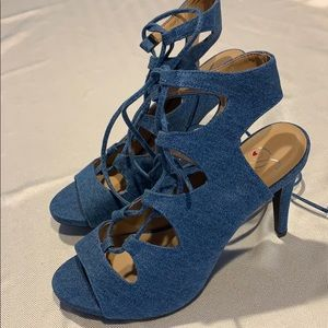 New Blue Fabric lace up high heel shoes Size 10
